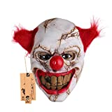 Hyaline&Dora alloween Latex Clown Mask with Hair for Adults,Halloween Costume Party Props Masks (red Hair)
