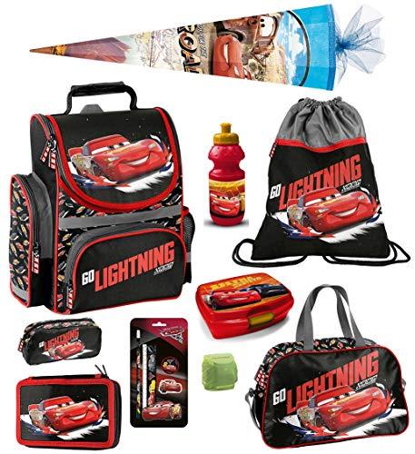 Familando Disney Cars Schulranzen-Set 13tlg. mit Regenschutz, Sportbeutel, Federmappe, Sporttasche und Schultüte 85cm DSB-525