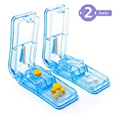 2-Pack Pill Cutter - Pill Splitter with Stainless Steel Blade for Cutting Small Pills or Large Pills in Half, Easy Cut Pills for Tablet Vitamin and Big Medicine. (Light Blue)