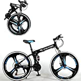 26 Inch Folding Mountain Bike Shimanos Bicycle Dual Disc Brakes Full Suspension Non-Slip MTB Bikes,3 Spoke Wheels,Lightweight, for Men Women Bicycle[Shipping from US]
