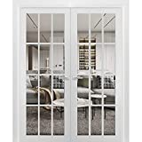 Solid French Double Doors 60 x 80 inches Clear Glass 12 Lites | Felicia 3355 Matte White | Wood Solid Panel Frame Trims | Closet Bedroom Sturdy Doors
