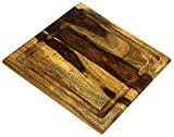 """Organic Hardwood Sheesham Cutting Board, with Juice groove, Best Kitchen chopping Board (Butcher Block) for Meat, Cheese, and Vegetable Serving Tray, 11""""X11""""X.750"""""""