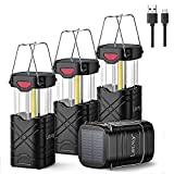 LETMY 4 Pack Camping Lantern, Rechargeable LED Lanterns, Solar Lantern Battery Powered Hurricane Lantern Flashlights with 3 Powered Ways & USB Cable for Emergency, Power Outage, Hurricane Supplies