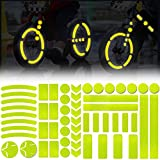Leasinder 55 Pcs Reflective Stickers for Helmet Bicycle Reflective Tape Night Safety Stickers Decals for Motorcycle, Helmets, Bike, Strollers, Wheelchairs, Scooter, Wheelchairs (Yellow)