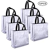 kuou 12 Pack Glossy Grocery Bag, Multipurpose Non-Woven Large Tote Bag with Handle Eco Reusable Present Bag Gift Bag Promotional Bag for Party Shopping (Silver)