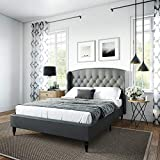 Classic Brands Coventry Upholstered Platform Bed | Headboard and Metal Frame with Wood Slat Support, Queen, Grey