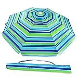 MOVTOTOP Beach Umbrella, 6.5ft Patio Umbrella with Tilt Aluminum Pole & Sand Anchor, Portable UV 50+ Protection Beach Umbrella with Carry Bag for Beach Patio Garden Outdoor Blue/Green