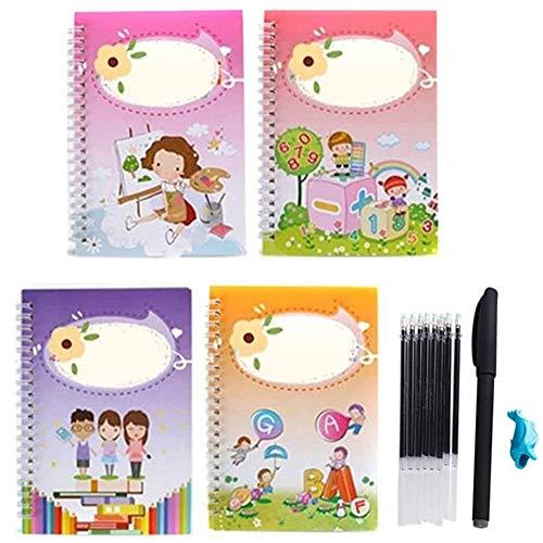 Multi-Style Number English Writing Übungsbuch Wiederverwendbare Rille Handschrift Copybook Set Magic Writing Paste Kalligraphie Briefschreiben Lernbücher für Kinder Kinder