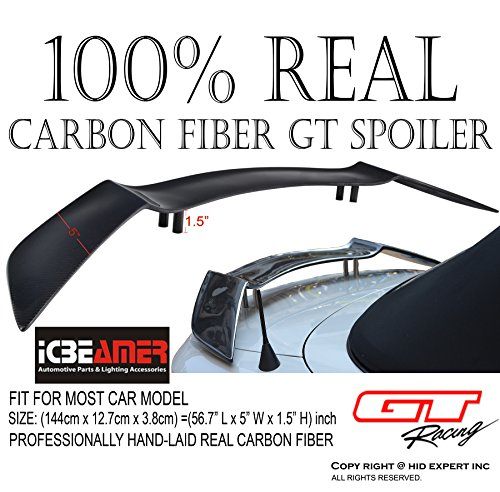ICBEAMER JDM GT Style 57' 100% Real Carbon Fiber Spoiler Wing Universal Fit Rear Trunk Coupe Sport Sedan