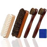 Oudrlim kit de brosses à chaussures de 4 pièces. Contenant brosses à lustrer, 2 pinceaux applicateurs à chaussures et 1 Brosse á Daim (Bleu)