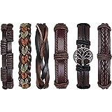 flintronic® Bracelet en Cuir, 6Pcs Réglable Mode Punk Tressé Hommes & Femmes Corde Bracelet Manchette Bracelets Vintage Série Wrap Set