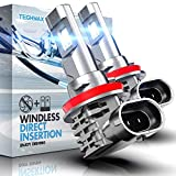TECHMAX H11 LED Bulb, Windless Direct Insertion 10000LM 50W 6500K Xenon White H8 H9 of 2 Halogen Replacement