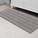 Bath Rug Ultra Thick and Soft Texture Bath Mat Chenille Plush Striped Floor Mats Hand Tufted Bath Rug with Non-Slip Backing Door Mat for Kitchen (Dove - 59' x 20')