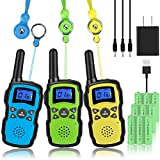 Wishouse Handheld Walkie Talkies Rechargeable for Adults 3 Pack,Family Walky Talky 2 Way Radio Long...