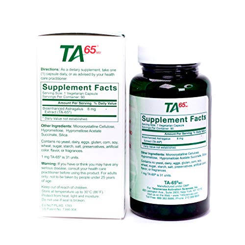 T.A. Sciences | TA-65 Supplement | 1x90 Capsules | 250 U |Free Extra Strength Fat Burner 7