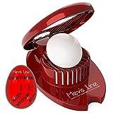 Mevis Line Egg Slicer for Hard Boiled Eggs and Egg Timer for Boiling Eggs Set, (Red Color)