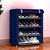 Keekos 4 Layer Multipurpose Portable Folding Shoes Rack/Shoes Shelf/Shoes Cabinet with Wardrobe Cover, Easy Installation Stand for Shoes(Shoes Rack)(Shoes Rack, Shoes Racks for Home)_4 Layer Navy