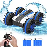 allcaca Waterproof Remote Control Car Boat - 2.4Ghz All Terrain RC Cars - 1/18 Scale Double Sides Stunt Vehicle with 360 Degree Spins and Flips Blue