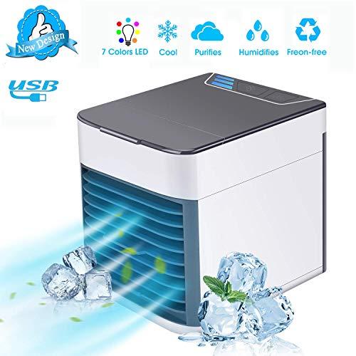 TTMOW Climatiseur USB Portable Refroidisseur d'air 4 en 1 Ventilateur de Climatisation Silencieuse Mobile Mini Personnel D'air Refroidisseur Humidificateur 3 Vitesses 7 Couleurs pour Bureau