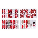 Lurrose 4 piezas pegatinas de uñas de navidad adhesivas adhesivas de punta de uñas calcomanías de uñas calcomanías de uñas de manicura de...