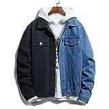 HUITAILANG Veste en Jean Hommes, Couture Bicolore Veste en Jean Streetwear, Manteau De Mode, Noir Bleu, 3X, Grand