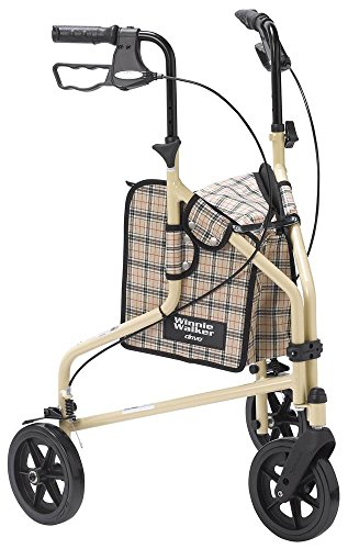 Drive Medical Winnie Lite Supreme Aluminum Three Wheel Rollator, Tan Plaid