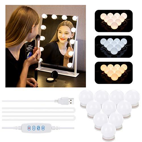 Azhien LED Spiegelleuchte mit 10 Dimmbar Schminklicht,Hollywood Stil Spiegellampe mit 3 Farbmodi und 10 Helligkeiten für Schminkspiegel,Schminktisch und Kosmetikspiegel (USB-Kabel und kein Adapter)