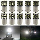 JAVR - Paquet de 10 - Blanc 6500K 1156 BA15S 1141 1003 1073 7506 Ampoules...