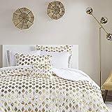 Comfort Spaces Anna 8 Piece Bag Comforter Ikat Dot Metallic Print, Quilting Design, Toss Pillow All Season Bedding, Matching Sham, Complete Sheet Set, Full, Gold
