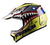 WOW Youth Kids Motocross BMX MX ATV Dirt Bike Helmet Shark Yellow