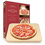 Pizza Stone, Lirradight Heavy Duty Ceramic Pizza Grilling Stone, Baking Stone, Pizza Pan, Perfect for Oven, BBQ and Grill, Thermal Shock Resistant, 15x12 Inch Rectangular