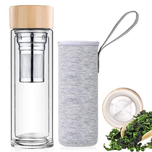 Botella de Agua de Cristal 450ML, Termo para té de Vidrio d