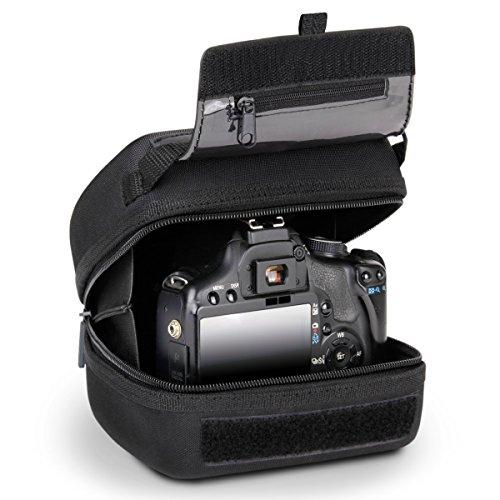 Funda para cámara réflex de Acceso rápido con protección EVA Moldeada, Interior Acolchado, Enganche de cinturón y asa recubierta de Goma de USA Gear - Compatible con Nikon,Canon,Sony,Pentax y más.