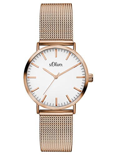 s.Oliver Damen Analog Quarz Armbanduhr mit Edelstahlarmband SO-3272-MQ