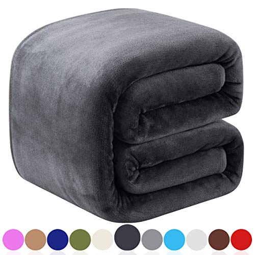 Richave Fleece Blankets Queen Size for All Season 350GSM - Premium Lightweight Anti-Static Throw for Bed Extra Soft Brush Fabric Warm Sofa Thermal Blanket 90' x 90'(Dark Gray Queen)