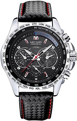 Megir Modische Herren-Armbanduhr mit 3Zifferblättern, Quarz (schwarz)