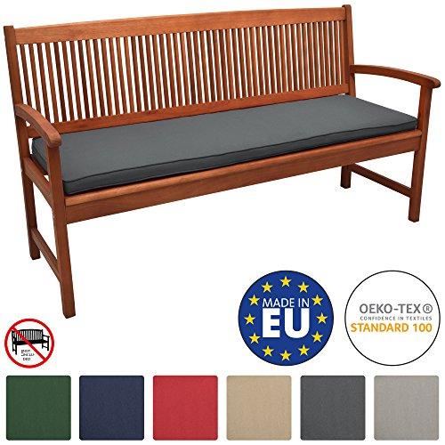 Beautissu Loft BK Bankauflage Auflage für Gartenbank Sitzkissen 100x48x5cm Graphitgrau Polsterauflage mit Oeko-Tex weitere Farben & Größen