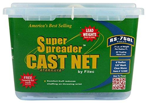 Fitec RS750-L Super Spreader Cast Net Clear 5' Radius, 3/8' mesh, 3/4 Lb Lead WTS (12350)