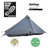 Six Moon Designs Lunar Solo Gray 1 Person Ultralight Tent. 26 oz. Backpacking Tent. 100% Silicone Coated Polyester Material for Reduced Fabric Stretch & Volume. Trekking Pole Setup.