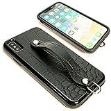 2in1 シンプルグリップケース iPhone XR エンボスクロコ ブラック 【Ricky's】 iphonexr ……