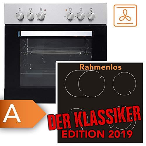 Einbauherdset Frankenberg Elite 6000 Herd Ceran Kochfeld   TOP Preis-/Leistungsverhältnis   2+1 Dualzone und eine Bräterzone   Restwärmeanzeige