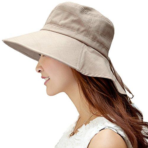 SIGGI faltbarer Sonnenhut Sommerhut UPF 50 + mit Nackenschnur Damen aus Baumwolle, 1005_Khaki, Einheitsgröße