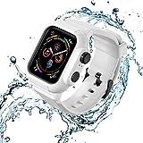 完全防水保護 Apple Watch ケース バンド 44MM,KARTICE Compatible with Apple Watch SE/Series 6/5/4 防水ベルト&ケース,30メートル潜水可能 軍用級防水 防塵(ホワイト A)