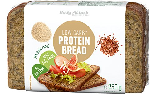 Body Attack Low Carb-Protein Bread, Eiweißbrot mit reduziertem Kohlenhydratanteil, für ein eiweißreiches Abendbrot (3x 250g)