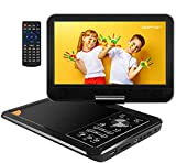 APEMAN 12'' Portable DVD Player with 9.5'' Reinforced Swivel Screen Support SD Card USB Port AV In/Out Connect to a TV Earphone Speaker 5Hrs Built-in Rechargeable Battery for Car Kids Travel Companion