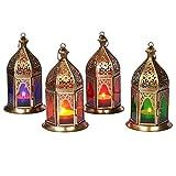 Lot de 4 Petite Lanterne marocaine décorative Basem 16cm | Photophore marocain...