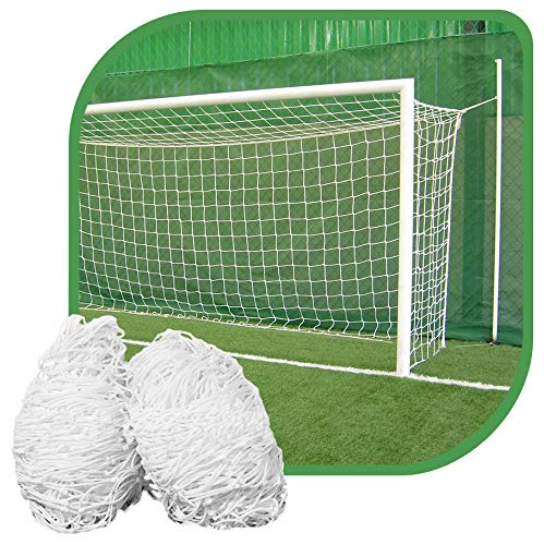 Par de rede para trave de gol society suiço 6mts caixote fio 4mm nylon branca