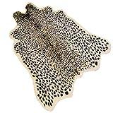 Leopard Print Rug 3.3' Wx3.1 L Feet Faux Cowhide Skin Rug Animal Printed Area Rug Carpet for Home Office, Livingroom, Bedroom