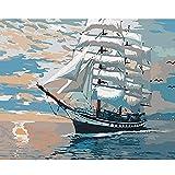 JXMK Kit de Pintura por número Sin Marco Bodegón de velero blancoPintura al óleo Colorida de DIY de la Pintada Abstracta Set de Pintura al óleo de Regalo 40x50cm