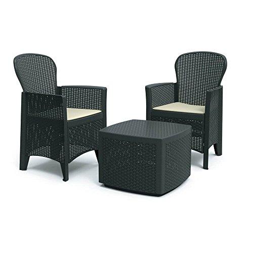 DMORA 8052773491754 Set da Giardino con Cuscini, 2 Poltrone e 1 Tavolino Contenitore da Esterno,...